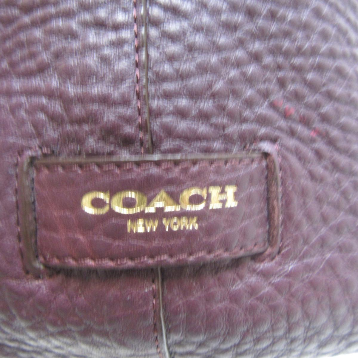 COACH バッグ 25306 紫色牛皮束口手提斜背包25306