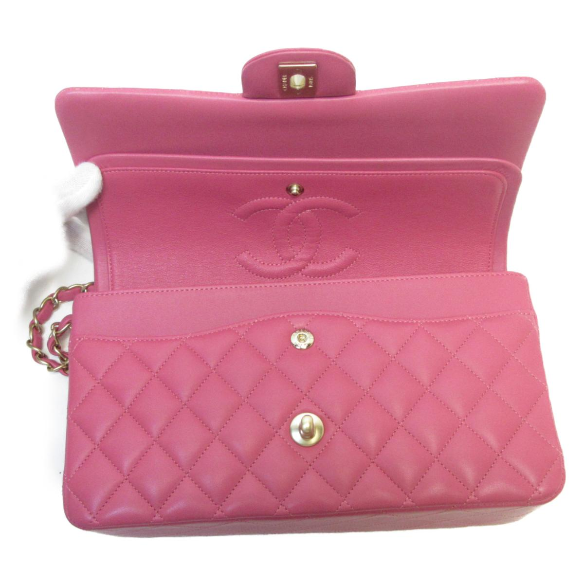 CHANEL バッグ A01112/Pk 桃紅羊皮經典肩背包Classic Double Flap