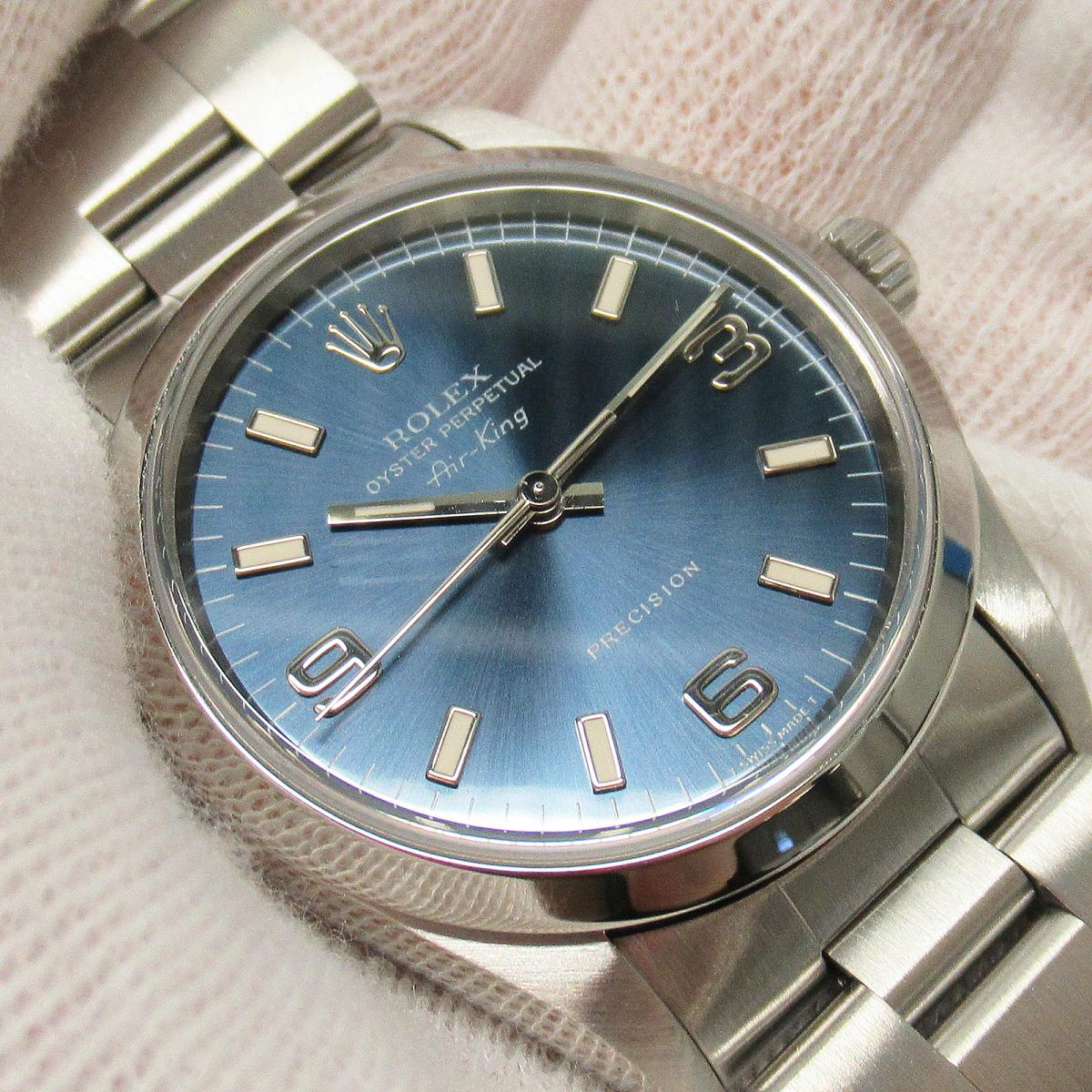 ROLEX 時計 14000 藍色面盤不銹鋼腕錶 Oyster Perpetual Air King Watch 1996- 14000